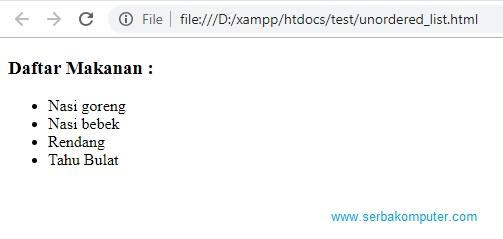 Cara membuat list pada HTML