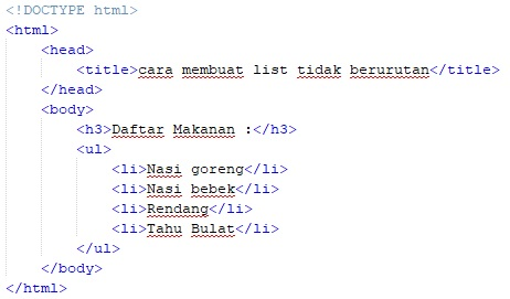 cara membuat list / daftar pada html
