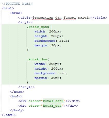 pengertian dan fungsi margin pada CSS