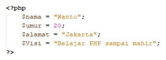 pengertian dan cara penulisan variabel pada PHP
